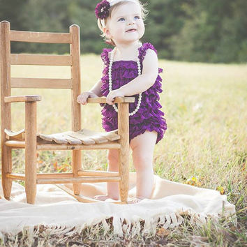 Baby girl first birthday outfit-Lace baby romper by KadeesKloset