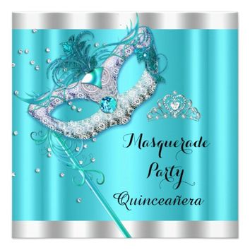 Teal Blue Masquerade Quinceanera Party Mask 4