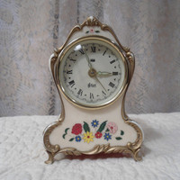 Vintage Wind Up Alarm Clock Swiss Musical Movement Beige Flowers Gold Boho Bohemian Shabby Chic Retro Art Deco Art Nouveau Victorian Reuge
