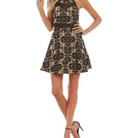 Honey and Rosie Illusion Inset Flocked Fit-And-Flare Dress | Dillards