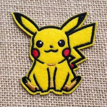 Pikachu Pokemon Patch Embroidered Cartoon Iron Sew On Applique Handmade Badge