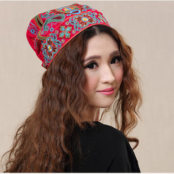 Chinese style ethnic red blue flowers embroidery hat cap headgear women 2016 autumn winter vintage design skullies beanies