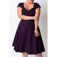 Vintage Style Sweetheart Neck Short Sleeve Plus Size Women's Dress