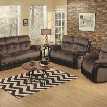 2 pc Holisdale collection brown champion fabric and black faux leather upholstery sofa and love seat set with recliner ends