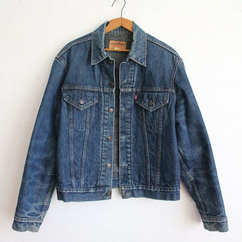 Vintage 80s Men's Levi's Blue Denim Blanket Wool Lined Jacket // Medium