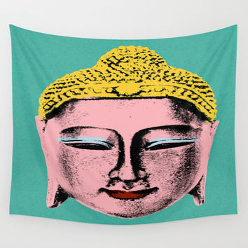 Pink Buddha Wall Tapestry by Aloke Design