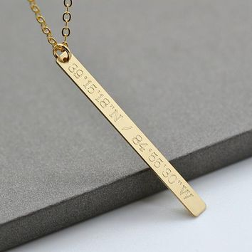 Bar Drop Necklace / Coordinates Necklace / Personalized Jewelry / Long Gold Bar / Gold Stick Necklace