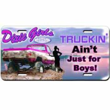 Truckin' Ain't Just For Boys Embossed Aluminum Car Tag By Dixie Outfitters®