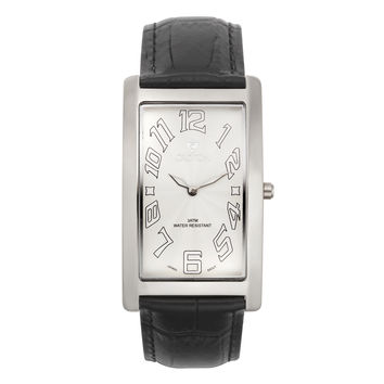 Croton Mens Stainless steel White Rectangular Watch