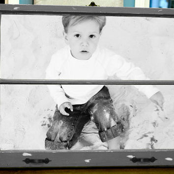 Old Vintage Window Frame with Your Photo, handpainted distressed chalk paint, grey with white base