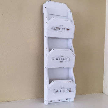 Shabby chic vintage wood wall letter, mail organizer, white, distressed