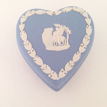 Wedgwood Blue Heart Shaped Box - Cameo Pegasus - ring box - romance romanitc covered dish pale pastel blue white - Made in England - josiah