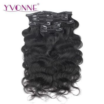 PEAP78W YVONNE Body Wave Brazilian Virgin Hair Clip In Human Hair Extensions 7 Pieces/Set Natural Color 120g/set