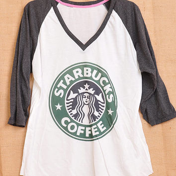 Starbucks Coffee Logo Pop Indie Punk Rock Tattoo Vintage Lady Women T shirt V Neck Size S M L