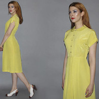 Vintage 40s CHARTREUSE DAY DRESS / Short Sleeve, Knee Length Dress / Silky Lemon Citrus / Peter Pan Collar / La La Land, Emma Stone / Xs