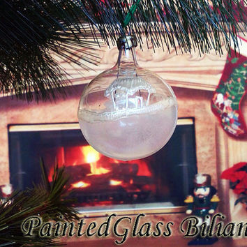 PERSONALIZED Hand painted glass ball Christmas tree ornament  White Winter Snowflakes