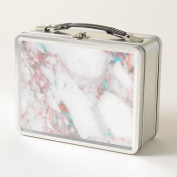 White Marble with Copper Aqua Accent Lunch Box