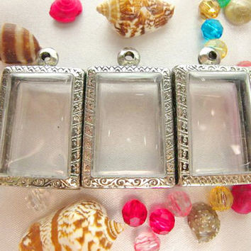 Medium Rectangle Shape Stainless Engrave Pendant Cases,Set of 3, Reliquaries, Shadow Box Pendants, Clear Locket,Containers,Terrarium