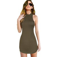 GD162 New S-L Womens Olive Green Stripped Halter Bodycon Dress Mini Club Party Dress