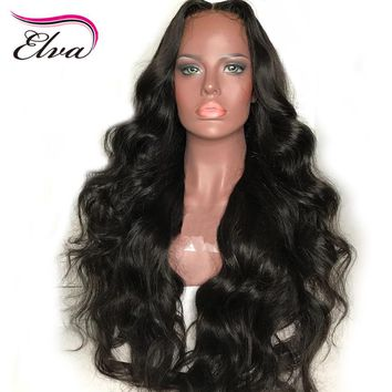 Elva Hair 250% Density 360 Lace Frontal Wig Pre Plucked Hairline With Baby Hair Body Wave Remy Human Hair Wigs For Black Women