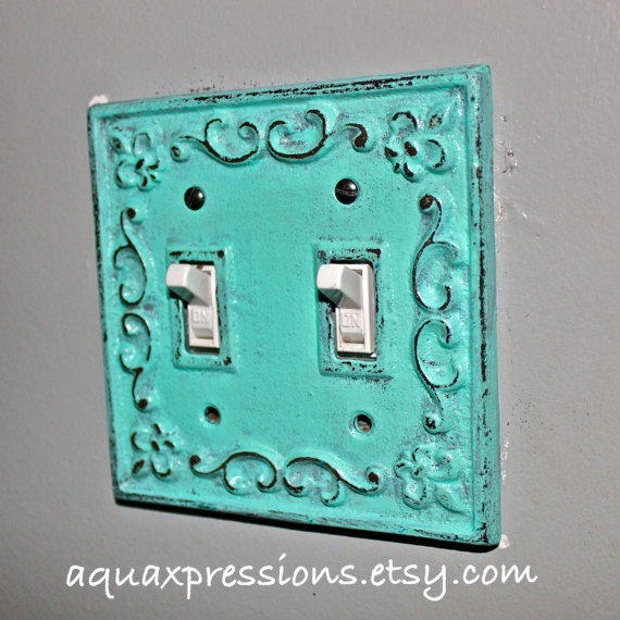 Decorative Light Switch Plate Aquamarine From
