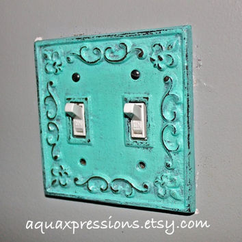 Decorative Light Switch Plate /Aquamarine /Gray /Double Switch Cover/ Fleur de lis/ Bright Cast Iron/ Painted Metal/ Shabby Chic