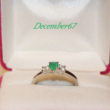 Three Stone Promise Ring, Emerald Green Gemstone With White Sapphire Accent Stones, Sterling Silver