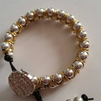 Gorgeous Gold and Silver Goddess Style Bracelet with Gold Button Closure Gifts for Her  Present Birthday Gift Graduation Anniversary
