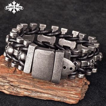 Wide skull skeleton leather bracelet with stainless steel cuff loom Belt Buckle
