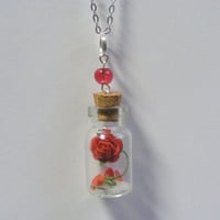 Dying Rose Necklace Pendant- Miniature Food Jewelry,Handmade Jewelry Necklace Pendant
