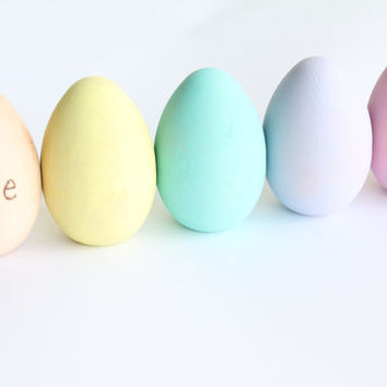 Pastel Rainbow Easter Eggs Personalized Wood Toy Montessori Baby Boy Baby Girl Spring Nature Chicken Pretend Kitchen Educational