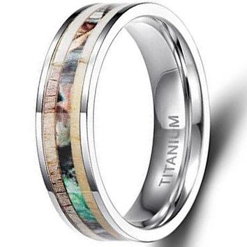 CERTIFIED 6mm Titanium Rings Deer Antler Camo Inlaid | FREE ENGRAVING