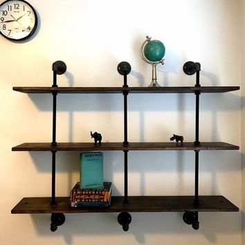 Hanging Bookcase-Hanging Bookshelf-Adjustable Bookcase-Industrial Bookshelves-Pipe Shelving-Pipe bookcase-Store Display-Steampunk