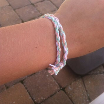 Long-double wrap coral and mint bracelet (or single wrap anklet) friendship bracelet
