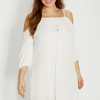 plus size peasant dress with lace and cold shoulder sleeves