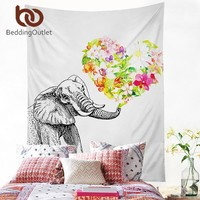 BeddingOutlet Elephant With Floral Tapestry Indian Hippie Wall Carpet White Hanging Wall Tapestries Polyester Sheet 2 Sizes Hot