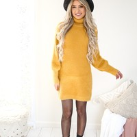 Mustard Cozy Sweater Dress