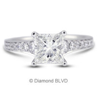 Diamond BLVD 1.25 Carat Total G-SI1 Very Good AGI Cert Princess Natural Diamond 18K White Gold Vintage Engagement Ring with Milgrain