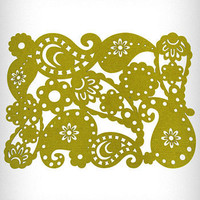 Green Paisley Placemats Set of 4 | PLASTICLAND
