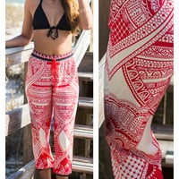 Cheers To The Weekend Abstract Red Geometric Print Pants