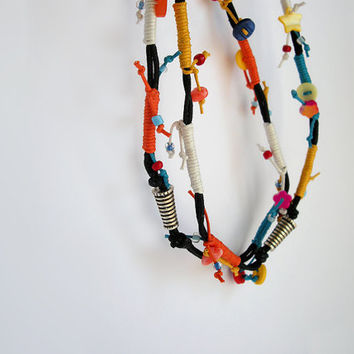 Dramatic black and orange colorful cords long necklace - strand necklace