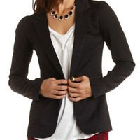 Puff Sleeve Single Button Blazer by Charlotte Russe - Black