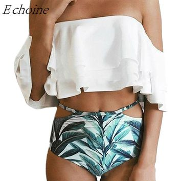 Echoine High Waist Swimsuit 2017 Sexy Off Shoulder Ruffles Bikini Set Women Swimwear Tropical Leafs Print Swim Bottom Maillot