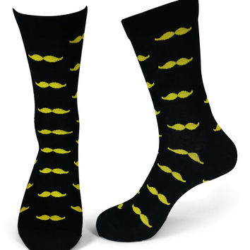 5 Pairs Wedding Party Socks - Black / Yellow Mustaches