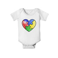 Big Puzzle Heart - Autism Awareness Baby Romper Bodysuit by TooLoud