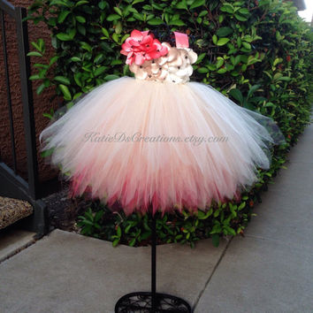 Coral Flower Girl Dress / Coral, Champagne and Ivory Ombre Tutu Dress / Birthday Dress / Easter Dress / Champagne Tutu Dress