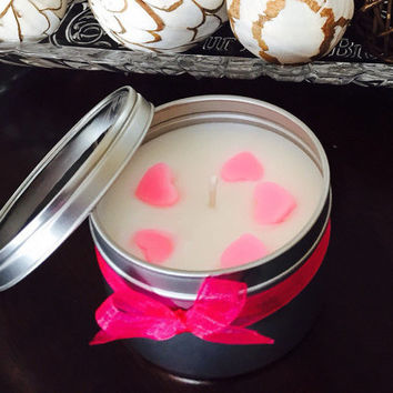 Soy Candles 8 oz Love is in the air with pink hearts. Highly Scented candles, Hand Poured 100% soy candles.