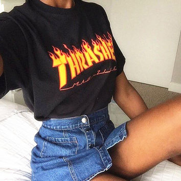 """THRASHER""Fashion print loose leisure short sleeve Yellow letters T-shirt Black"