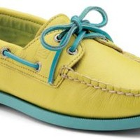 Sperry Top-Sider Authentic Original Color Pop 2-Eye Boat Shoe YellowLeather/Teal, Size 5.5M  Women's