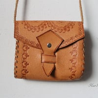 Old vintage hippie boho genuine leather bag school shoulder purse satchel brown bicycle cycle bag festival distressed mountain man possible